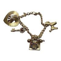 14 K Gold Charm Bracelet Telephone Poodle Heart Charm