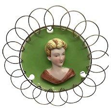 Vintage Lady Head Vase Cameo Plate