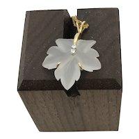 Carved Rock Crystal Diamond 14 k Necklace Leaf Pendant