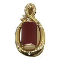 18 K Coral Diamond Pendant for Omega or Necklace