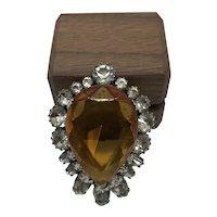 Vintage Amber Glass and Rhinestone Pin Pear Shape
