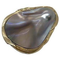 14 K Blister Pearl Pin Brooch Pendant Large