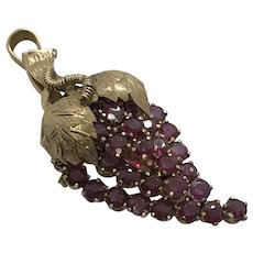 Large Ruby Grape Cluster 14 Kt Pin or Pendant