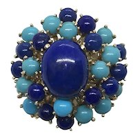 Lapis and Turquoise Cabochon Cocktail Ring Mid Century 14 K