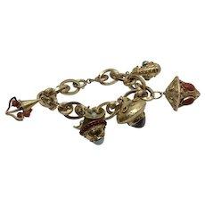 Vintage Mid Century Etruscan 18 K charm bracelet