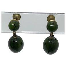 Bakelite Screw Back Drop Earrings Green