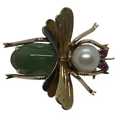 14 Kt, Jadeite,  Cultured Pearl and Tourmaline Insect Bee Pin