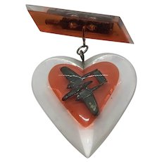 Vintage Lucite WW2 Bomber Sweetheart Heart Pin Brooch
