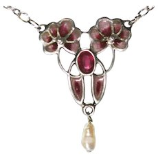 Vintage art Nouveau German pendant 900 silver. Ruby, Diamonds pearl enamel