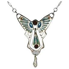 Vintage German pendant in Art Nouveau style Jugendstil  Silver 2 Garnets Plique a jour enamel 2 parts