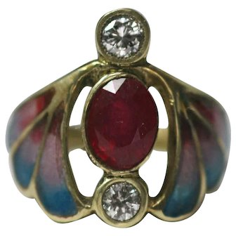 Vintage French ring in Art Nouveau style 14k yellow gold Ruby, Diamonds plique a jour enamel