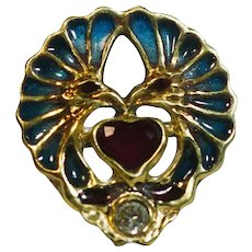 French Bohemian ring 2 Eagles in Art Nouveau style 14k yellow gold Diamond natural Ruby enamel