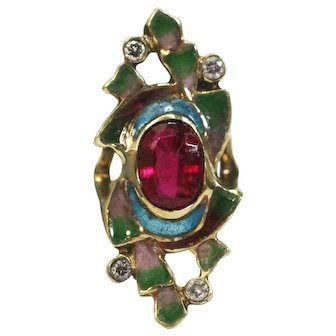 French vintage 14k yellow Ruby diamonds ring Art Deco plique a jour enamel