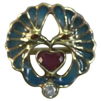 Vintage French ring 2 Eagles  Art Deco style  Diamond  0.25 ct  clean heart shape natural Ruby plique a jour enamel 14 k yellow gold