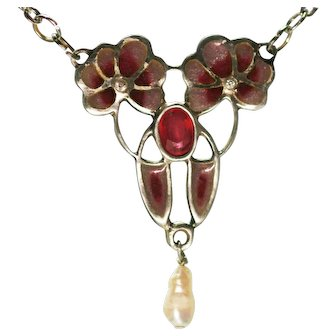 German pendant 2 Flowers Jugendstill Art Nouveau Ruby 2 Diamonds Pearl plique a jour enamel