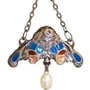 Vintage  French Art Nouveau Deco silver Cherub pendant Repousse Plique a jour enamel depose