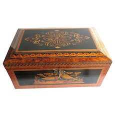Antique Inlaid Marquetry Wooden Jewelry Box 19th C. Birds and Floral Decoration