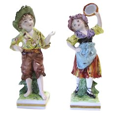 A Pair of Antique Porcelain Figurines by Rudolstadt Ernst Bohne Sohne of Germany