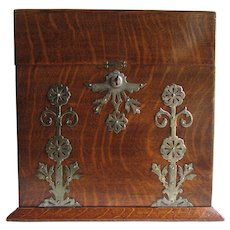 Rare Antique English Victorian Oak Traveling Tantalus Liquor Box with Games