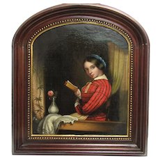 Antique 19th c. Painting Lady Reading in a Window Oil on Canvas Period Frame