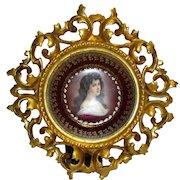 Royal Vienna Amorosa Portrait Porcelain Plate in Rococo Gilt Wood Frame