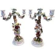 Pair of Rare Antique 18th C. Derby Porcelain Figural Candelabras Candlesticks