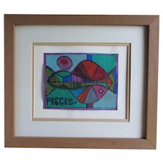 William FREDERICKSEN (American, 1914-2010)  Abstract Mixed Media Painting on Paper  Pisces