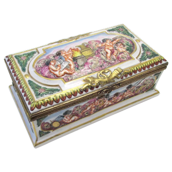 An Antique Large Capodimonte Porcelain Covered Box