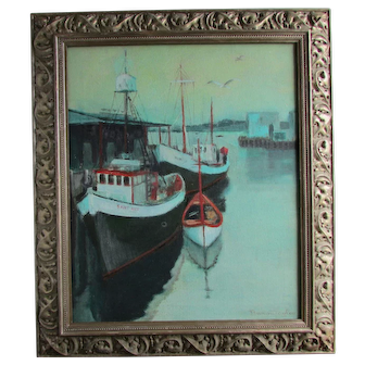 Vintage Harbor View Dockside Painting C.1970