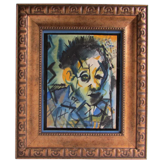 Abstract Portrait Painting by Ira Davidoff Mixed media on paper
