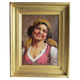 Enrico Frattini (Italian, 1890 - 1968)  Italian Smiling Gypsy Girl in a Kerchief.