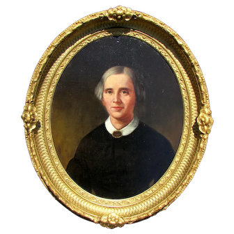 Antique 19th c. Woman Portrait Painting in Oval Period Frame
