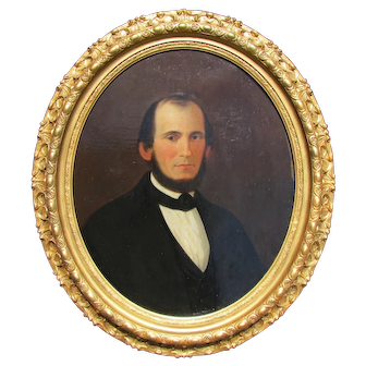 Antique 19th c. Man Portrait Painting in Oval Period Frame