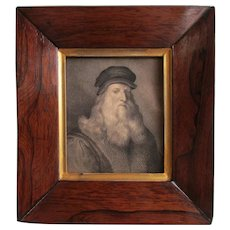 Superior 19th C. Drawing Portrait of Leonardo Da Vinci after an Engraving by Raffaello Morghen