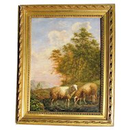 Dutch 19th c. Landscape Painting with Sheep
