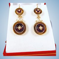 RESERVED Victorian era drop earrings Napoléon III danglers Stamped 18K French fine gold jewelry