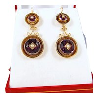 Victorian era drop earrings Napoléon III danglers Stamped 18K French fine gold jewelry