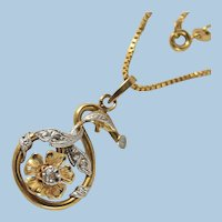 Art Nouveau style 18K solid gold and diamond necklace Stamped 18-carat white and yellow gold