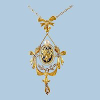 18K solid gold necklace Stamped Edwardian pendant with enamel pearl and diamond French fine gold