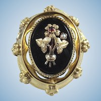 Victorian era 18K solid gold brooch Stamped onyx and demi pearls pin Napoléon III fine gold jewelry