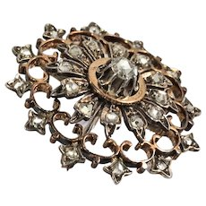 Rare French antique 18K solid rose gold and silver brooch