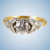 Splendid diamond solitaire in 18K solid gold and platinum adorned with six additional natural diamond Hallmarked