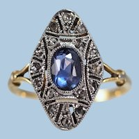 Art Nouveau ring 18K solid gold and platinum Hallmarked
