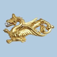 Massive 18K solid gold brooch Stamped fine gold Dragon Chimera with a natural diamond