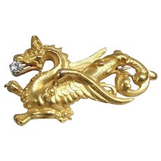 Massive and large 18K solid gold brooch Stamped fine gold Dragon Chimera with a natural diamond