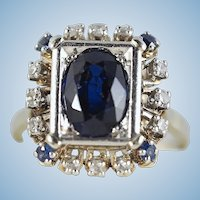 18K solid gold and platinum Art Déco ring with natural sapphire and diamonds Stamped