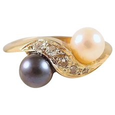 Crossover natural diamond and pearl ring, stamped 18K French fine gold jewelry, bridal bypass Toi et Moi ring