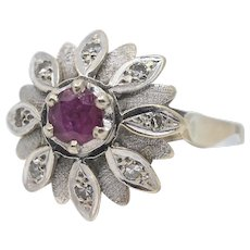 18K solid gold ruby and diamonds ring Stamped fine white gold