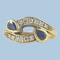 Double gem 18K solid gold crossover ring Natural sapphires and brilliant cut diamonds Stamped fine gold jewelry