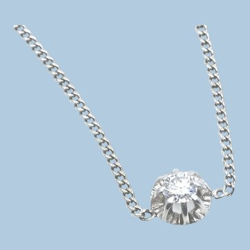 18K solid gold cable chain with modern cut diamond Stamped solid white gold necklace
